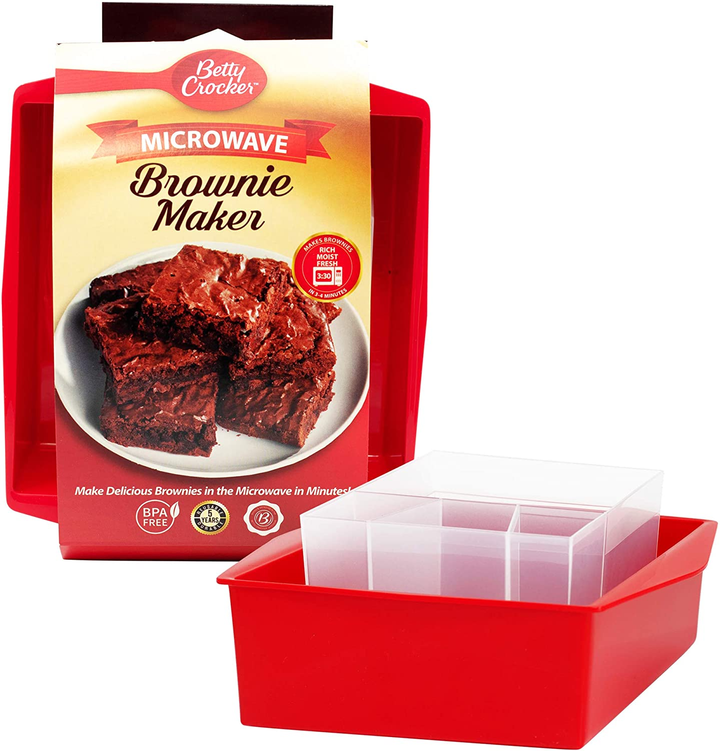 Amazon Com Betty Crocker Rapid Brownie Maker Microwave Delicious Brownies In 4 Minutes Perfect For Dorm Small Kitchen Or Office Dishwasher Safe Microwaveable Bpa Free Kitchen Dining