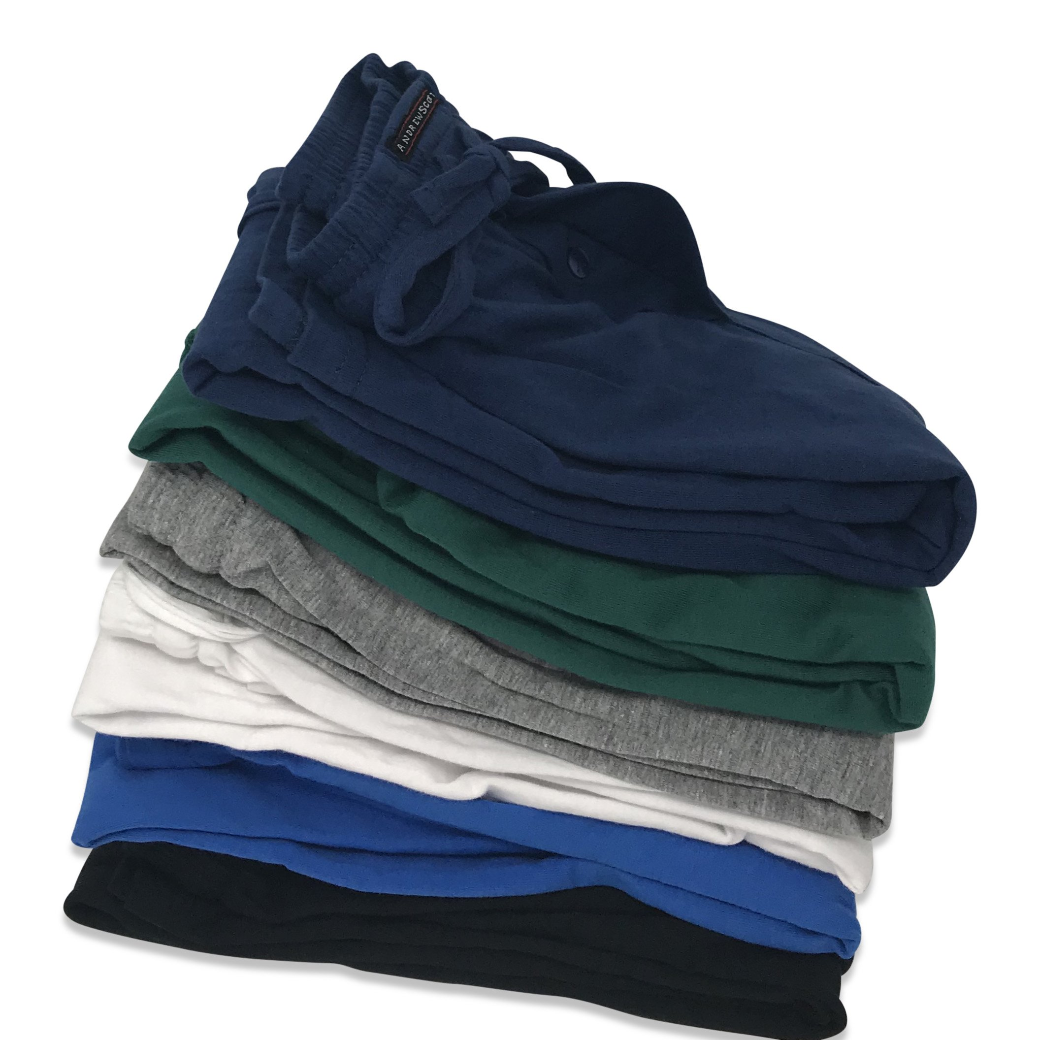 Andrew Scott Men's 6 Pack 100% Cotton Jersey Knit Yoga Lounge & Sleep Pajama Pants (6 Pack - Navy/Black/Royal/Hunter/White/Grey, Medium) by Andrew Scott (Image #3)
