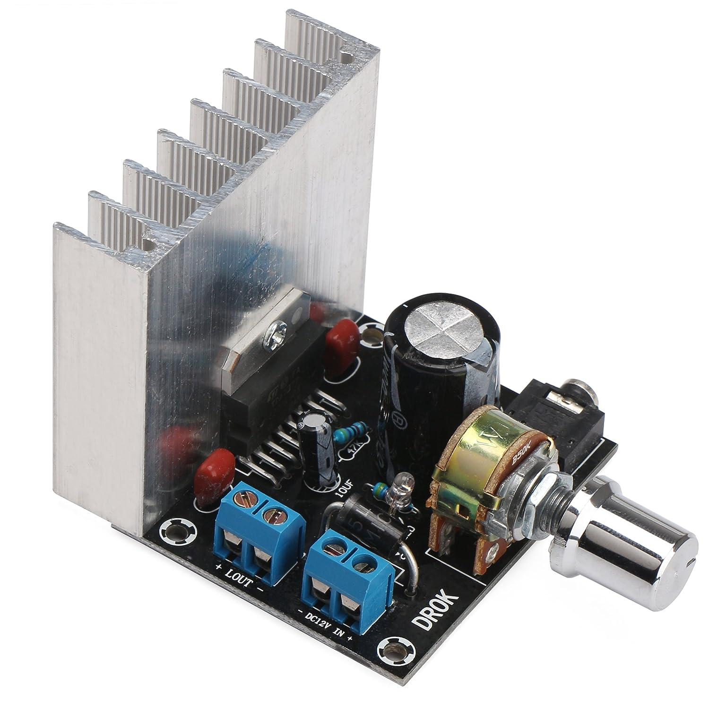 Drok Tda7377 Dc Audio Amplifier Board 12v Bookshelf Stereo High Power 20 Dual Channel Speaker Subwoofer Module Stereos Input Top Speakers For