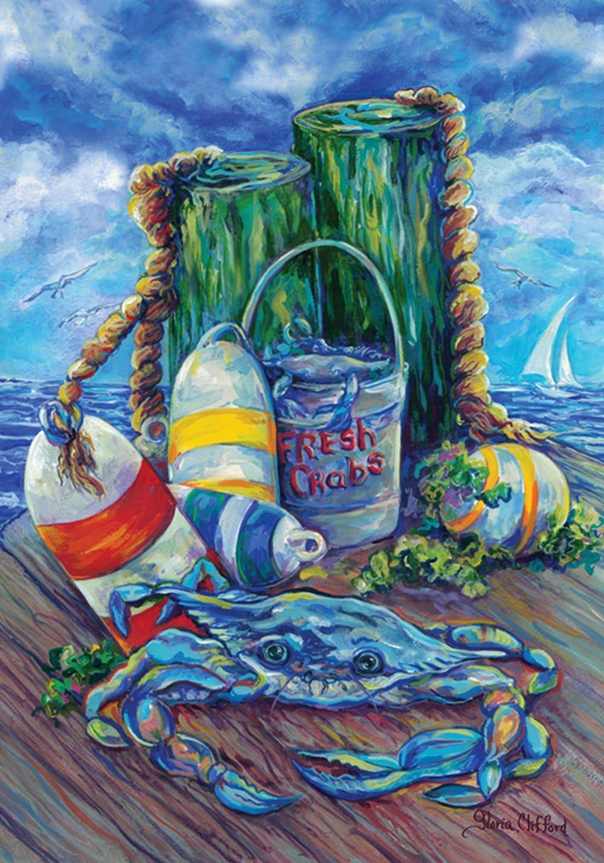 "Toland Home Garden 119437 Blue Crab Pier 12.5 x 18 Inch Decorative, Garden Flag (12.5"" x 18"")"