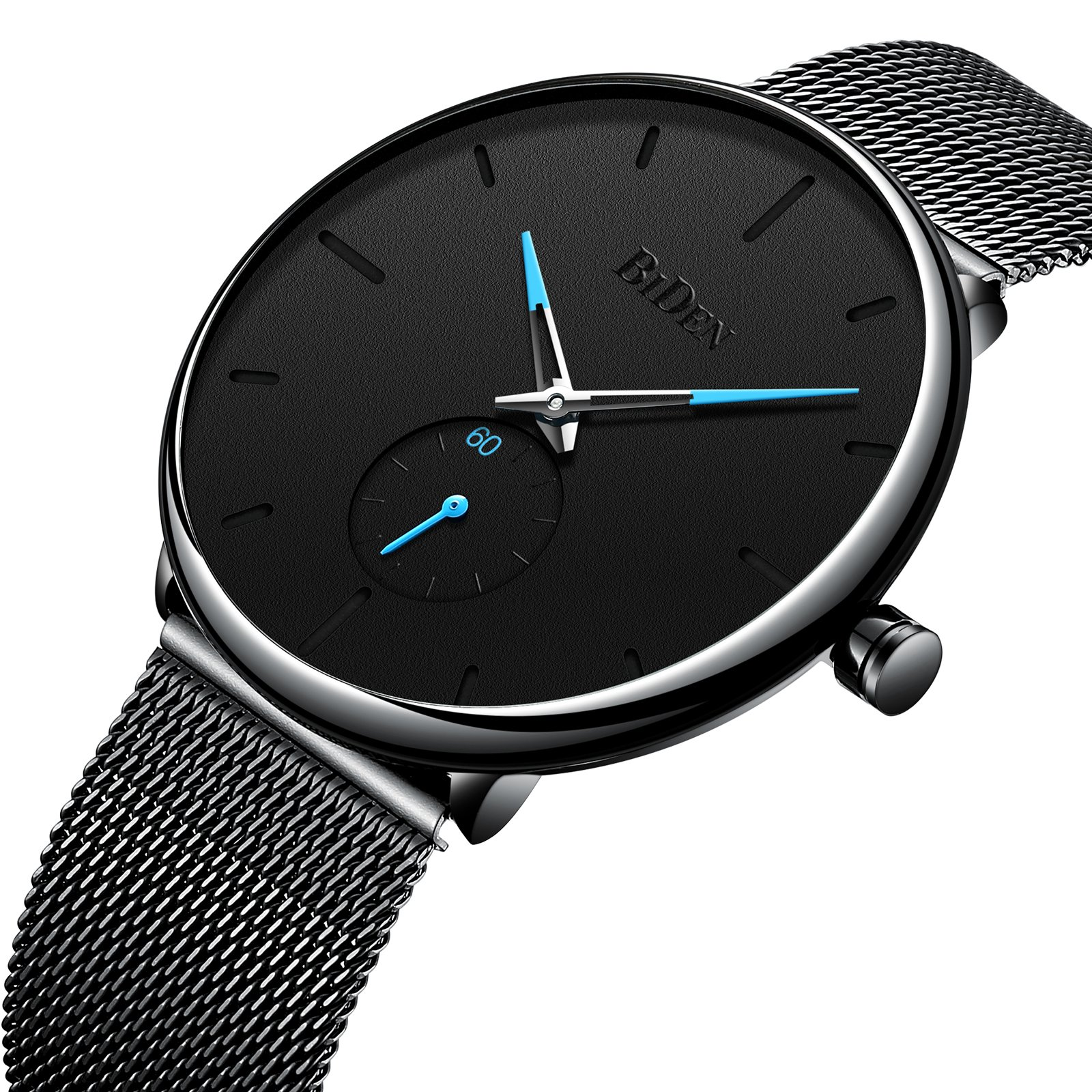 Men's Watch Unisex Minimalist Watch Waterproof Wrist Watches Classic Gifts Black Mesh Band