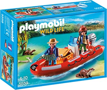 PLAYMOBIL - Bote Hinchable con exploradores (55590): Amazon ...