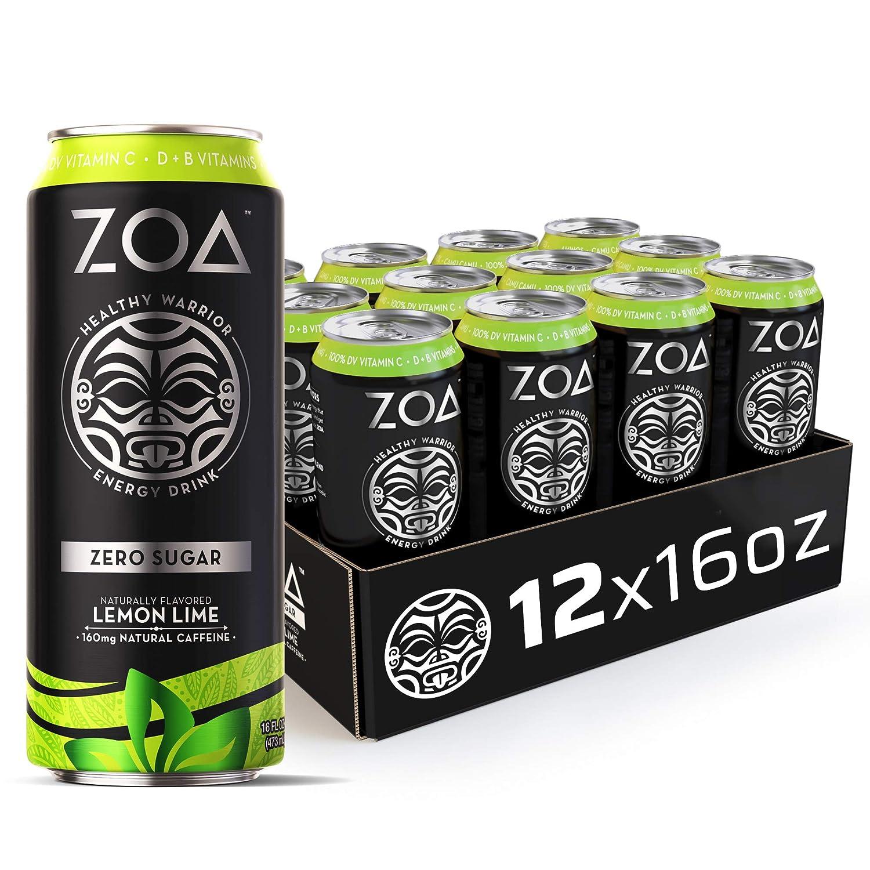 ZOA, Zero Sugar Energy Drink, Lemon Lime, 16 fl. oz. (Pack of 12) - Supports Healthy Immunity, Focus, Hydration, Body & Energy - 100% DV Vitamins C, B6 & B12