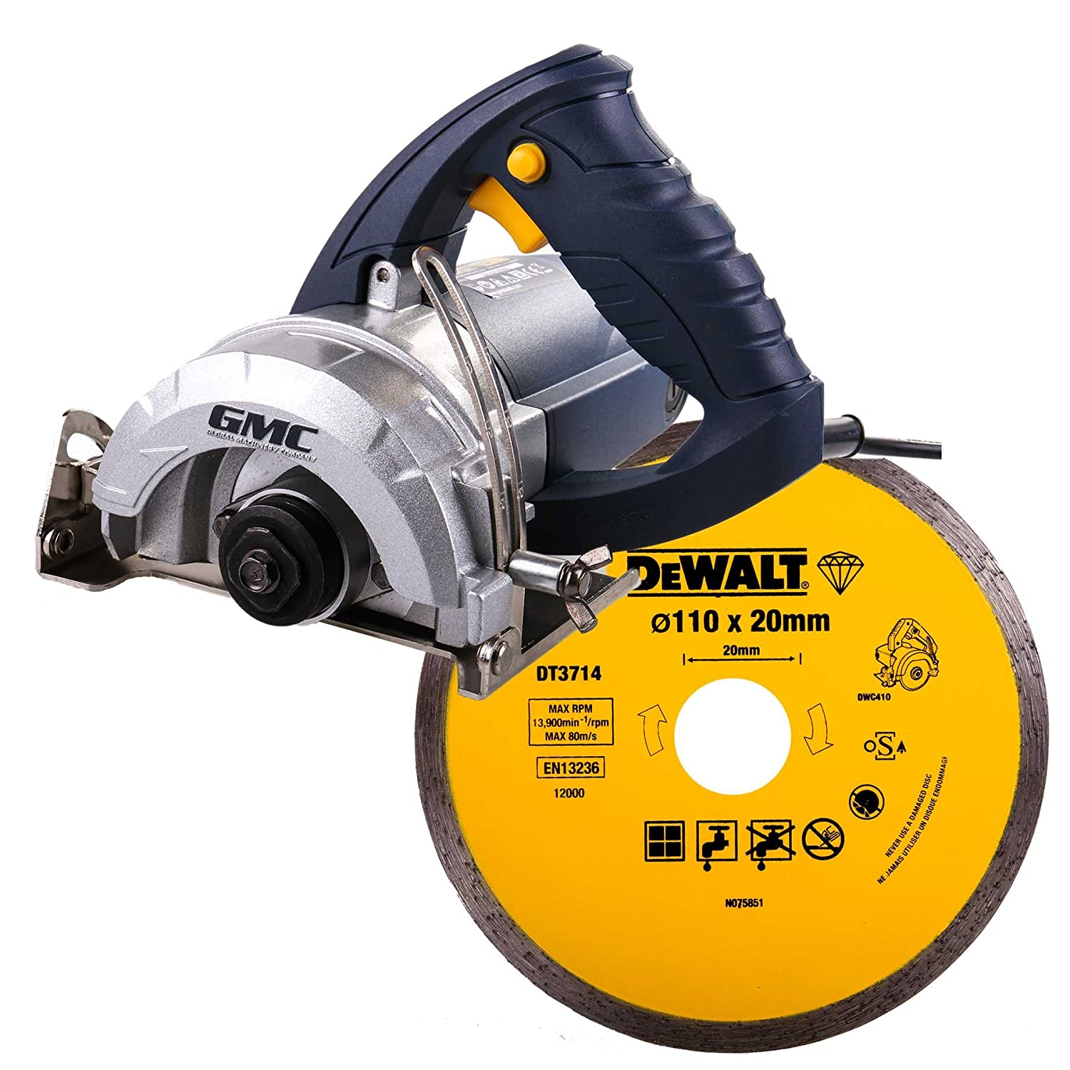 hand held wet saw. gmc 263288 wet stone cutter 110mm 1250w 230v kit with blade: amazon.co.uk: diy \u0026 tools hand held saw