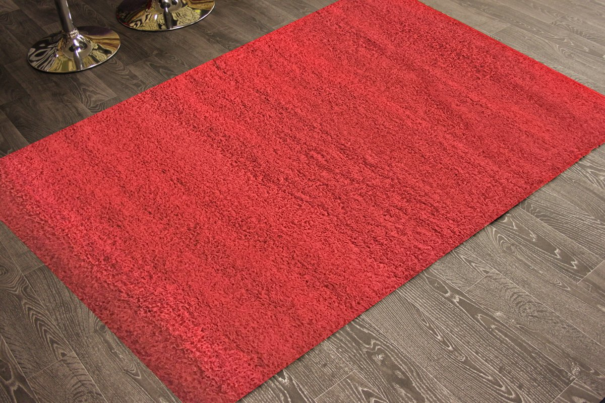 Adgo Chester Shaggy Collection Solid Design Vivid Color High Pile Carpet Thick Fluffy Kids Bedroom Living Dining Room Shag Floor Rug, 6' x 9' , S20 - Red