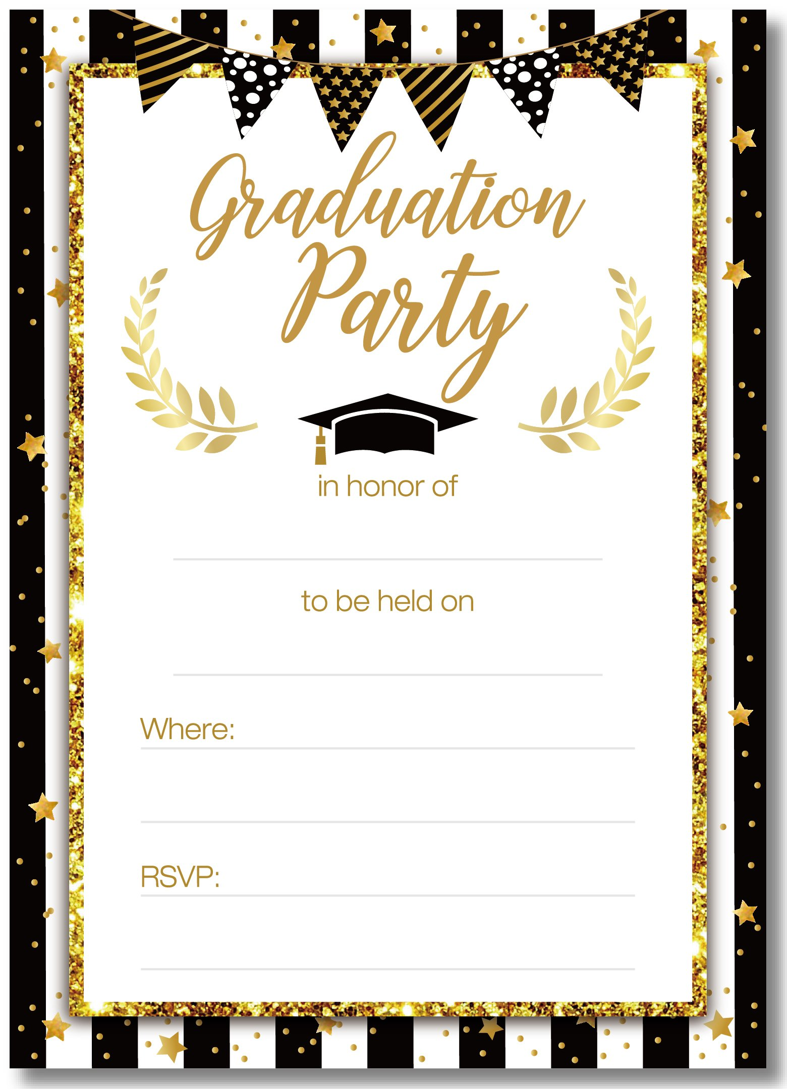 Graduation Party Invitations Cards with Envelopes 2018 - Grad Congrats Announcements Supplies 30Ct