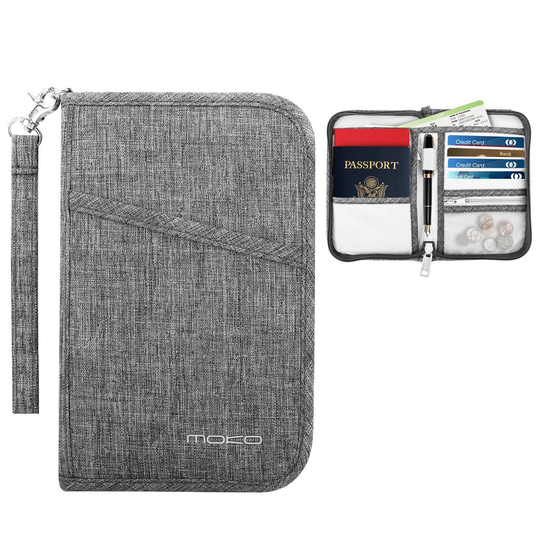 151c4c0b50aa MoKo Travel Wallet Passport Holder, Family Passport Holder Cover RFID  Blocking Document Organizer Case for Men & Women, Gray