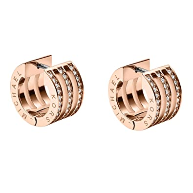 870b893b5b9aeb Amazon.com: Michael Kors Pavé Rose Gold-Tone Bar Huggies Earrings MKJ3769:  Jewelry