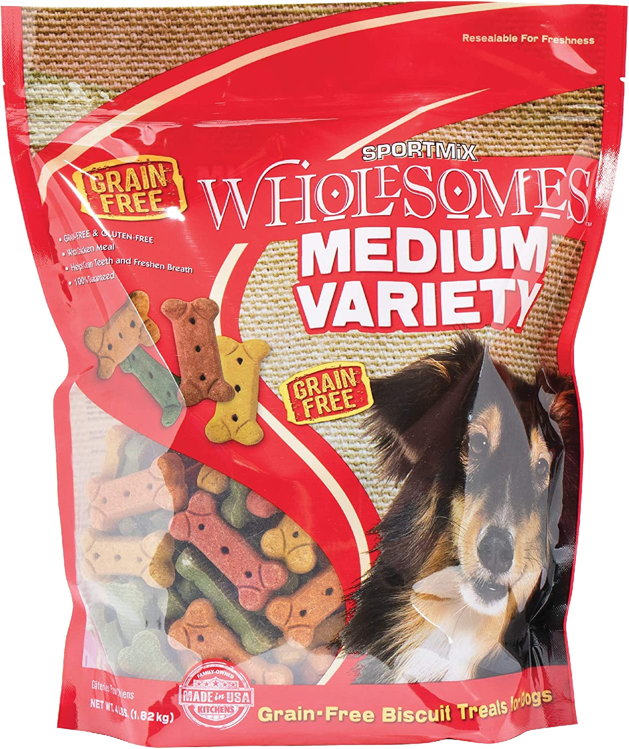 Sportmix Wholesomes Medium Variety Grain Free Dog Biscuit Treats, 4 Lb.