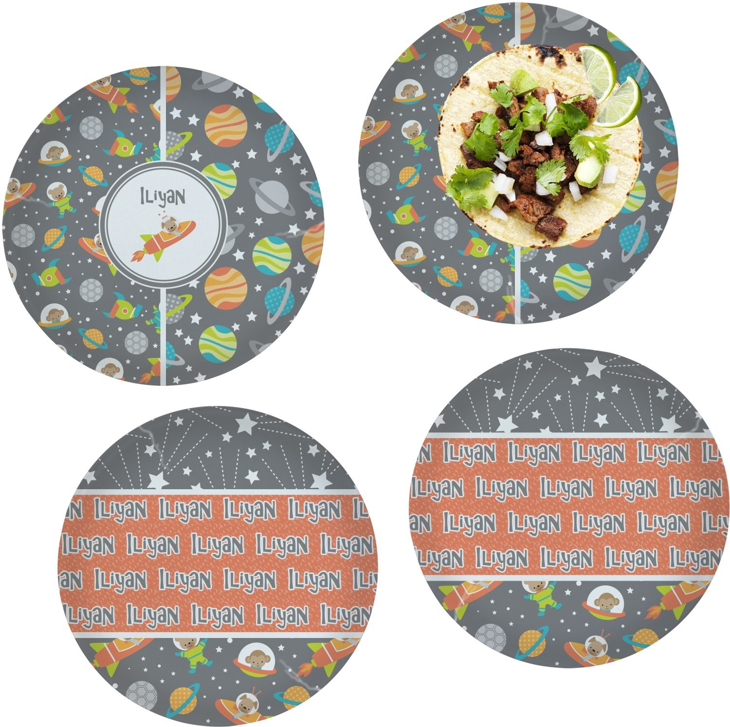 Space Explorer Set of 4 Lunch / Dinner Plates (Glass) (Personalized)