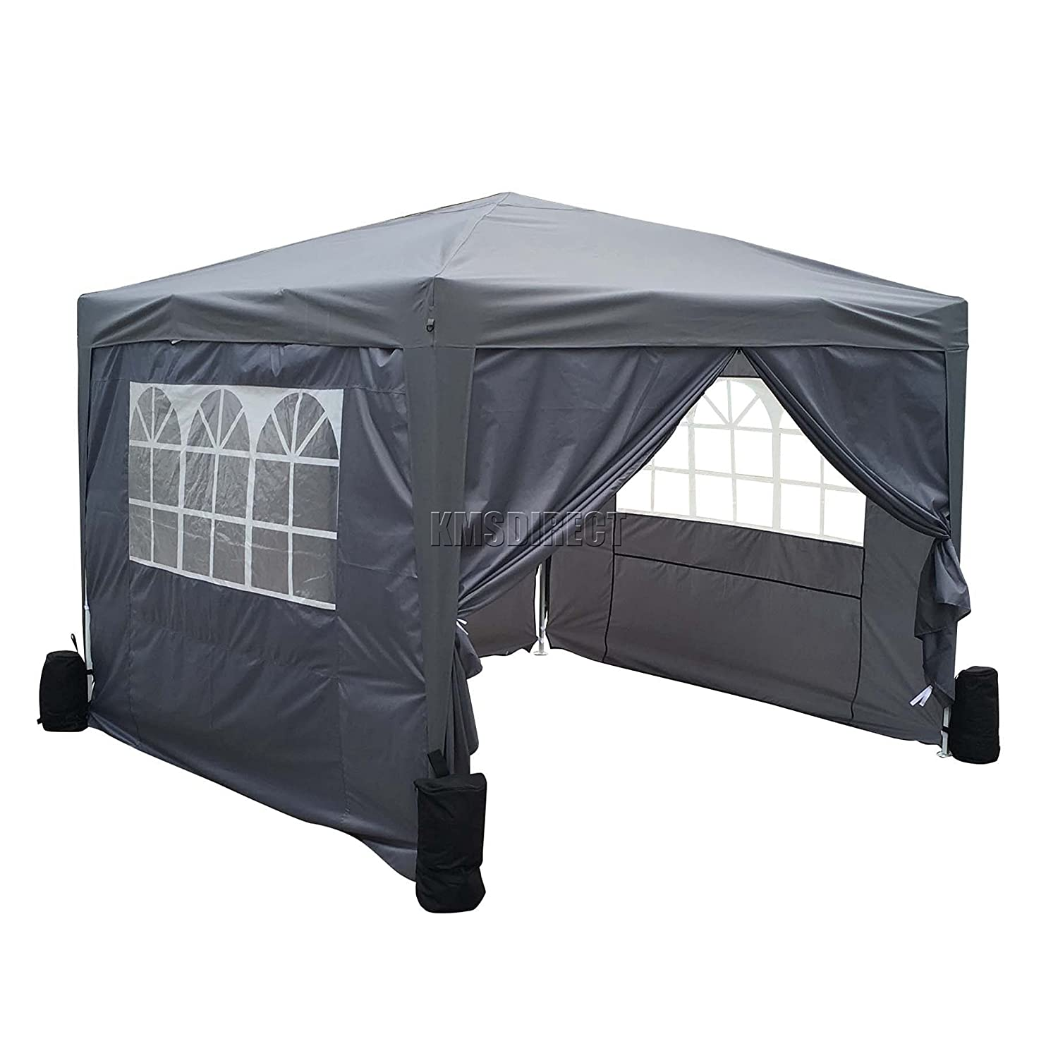 FoxHunter Waterproof 3m x 3m Pop Up Gazebo Marquee Garden Awning Party Tent Canopy 260g Polyester Powder Coated Steel Frame 4 Weight Bags Grey KMS