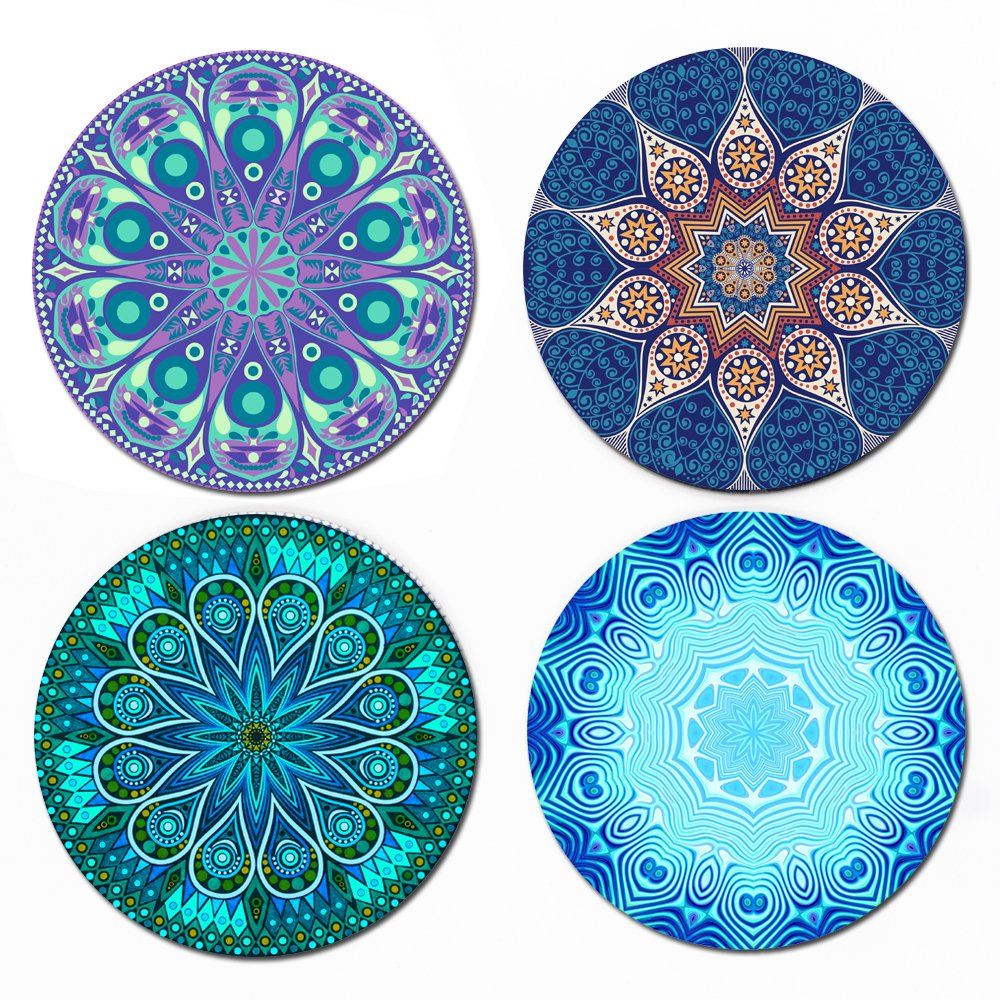 Coaster For Drinks - MANDALA, 4 Pack Large 4'' Size With Cork Back - Use as Elegant Home Decor and Save Your Furniture From Damage By Water Stain And Marks