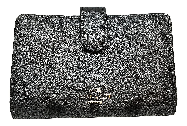 255cc8ceb17b Coach Signature PVC Medium Corner Zip Wallet Black Smoke Black F23553 at  Amazon Women s Clothing store