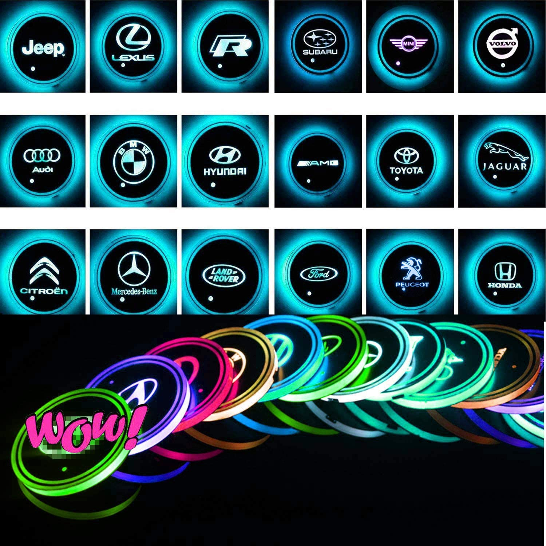 Choose Your Car Name VILLSION 2PCS Cup Holder LED Light Coaster 7 Colors USB Charging Cup Mat Pad Bottle Drink Holder for Car LED Atmosphere Lamp Accessories
