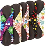 Wegreeco Bamboo Reusable Sanitary Pads - Cloth Sanitary Pads - Pack of 5 (Medium, Mix Prints)