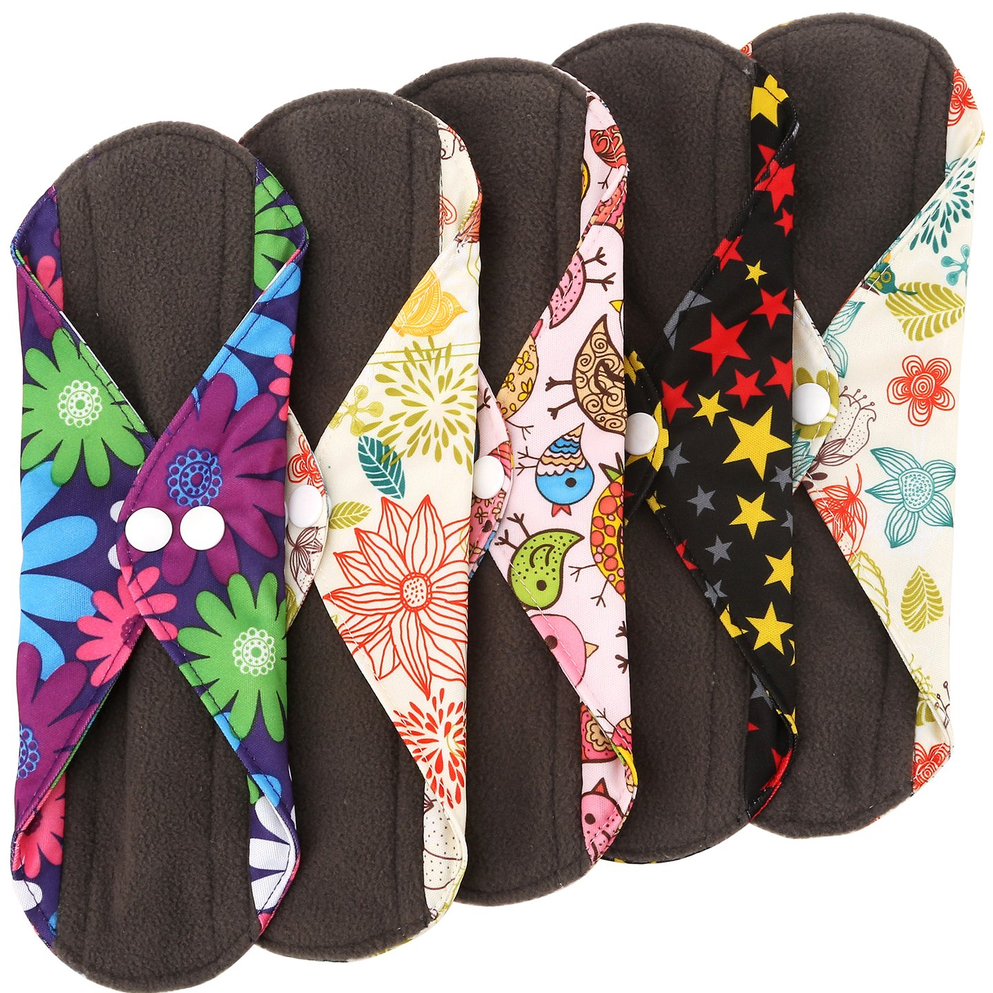 Wegreeco Bamboo Reusable Sanitary Pads - Cloth Sanitary Pads - Pack of 5 (Small, Mix Prints)