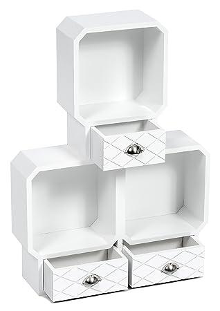 Interesting Fabulous Tsideen Er Retro Cube Regal Mit Drei Schubladen Fr  Bcher Schmuck Wandregal Hngeregal Wei With Retro Cube Regal With Hngeregal  Kche Wei ...