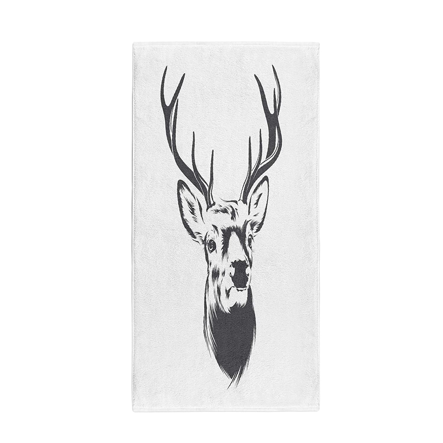 Amazon com pinbeam bath towel buck deer head silhouette line animal antler draw towel towel home kitchen