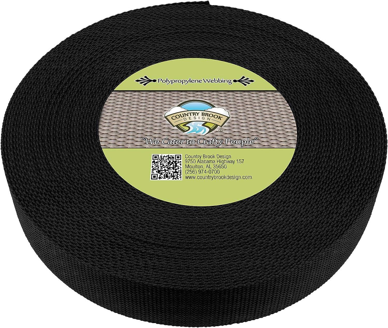 Country Brook Design® 1 Inch Black Heavy Polypro Webbing 10 Yards