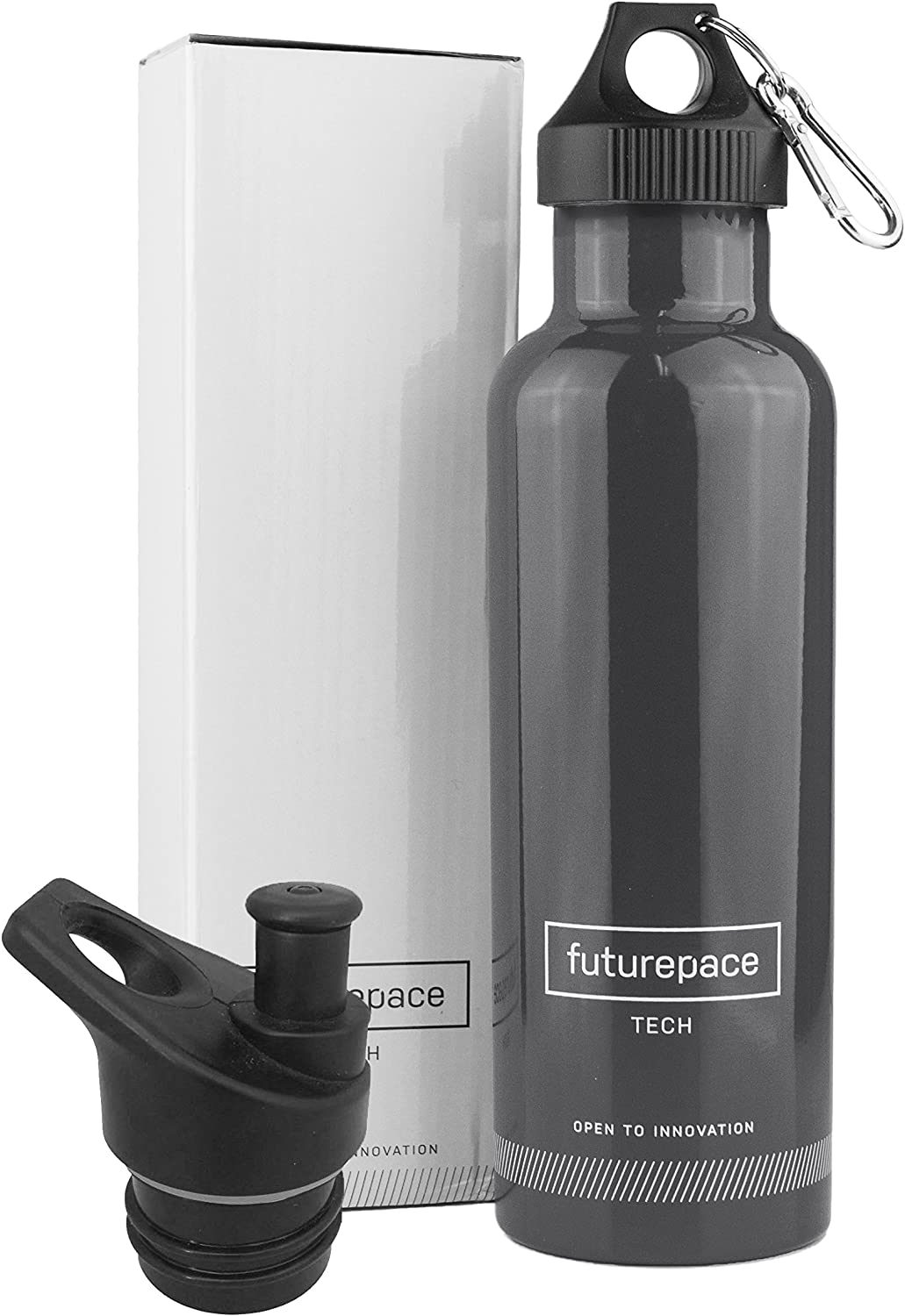 Futurepace Tech Best Stainless Steel Insulated Sports Water Bottle - Large Silver - 25oz- BPA Free Hydrate with Double Wall! for Office, Gym, Running, Cycling, Hiking