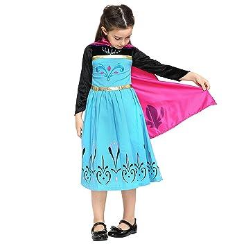 Katara Disfraz de Elsa Princesa de las Nieves vestido de coronacion negro- azul con capa