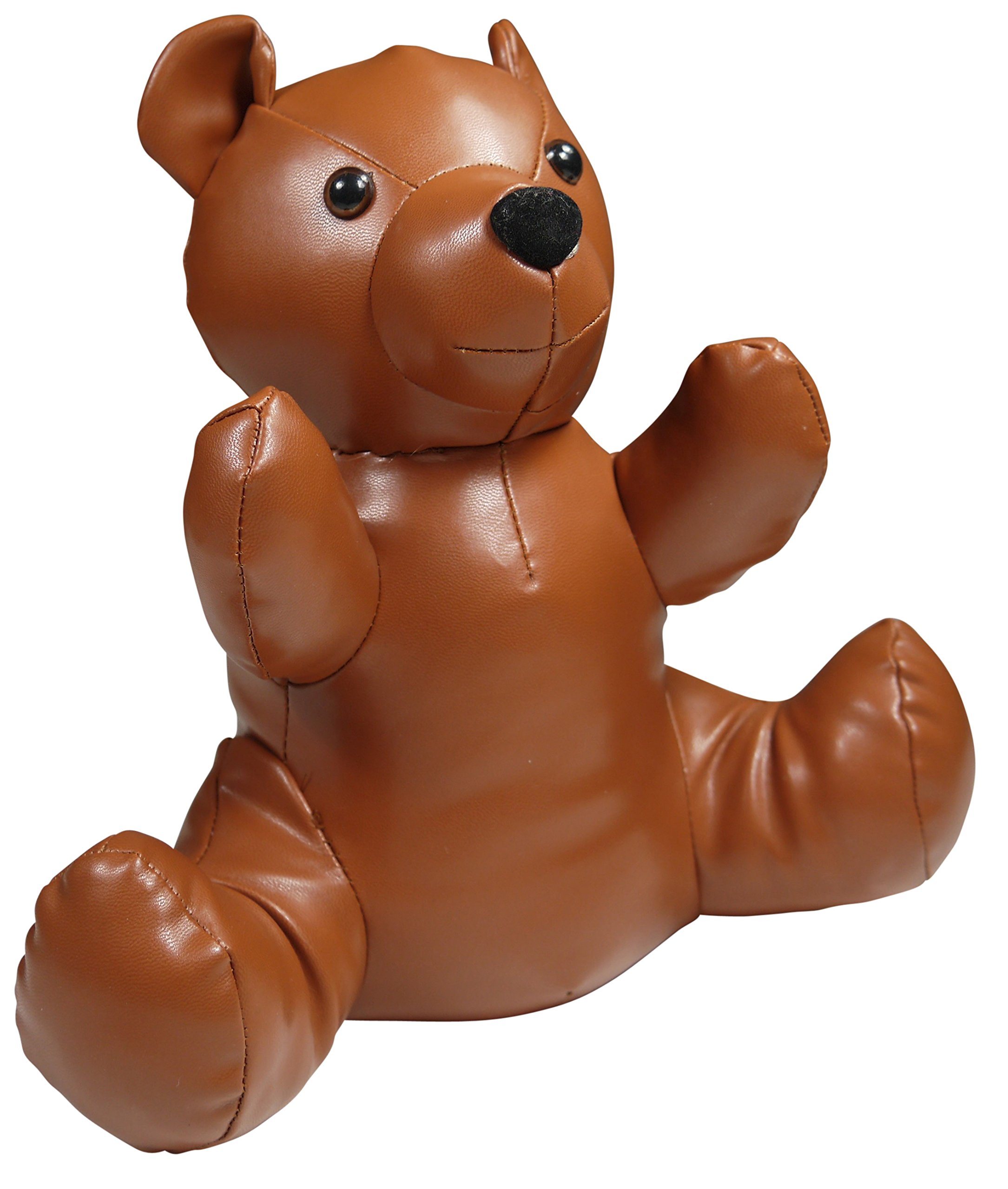 khevga Animal Door Stopper, Brown Teddy Bear, Leather Look