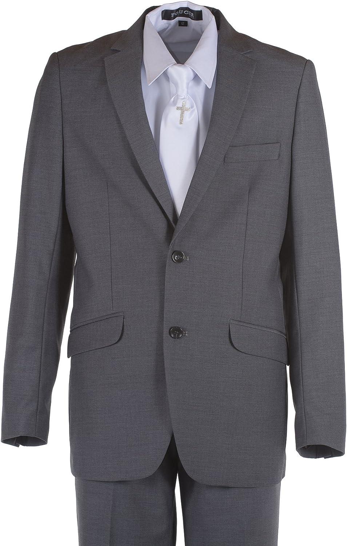 Boys Dark Grey Slim Fit Communion Suit with Silver Cross Dress Tie