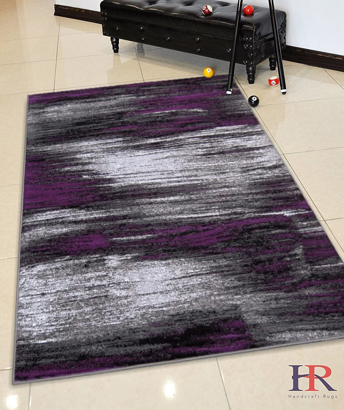 HR-Purple Grey Silver Black Abstract Contemporary Modern Design Mixed Brush Pattern Colors Area Rug 7 8 X10