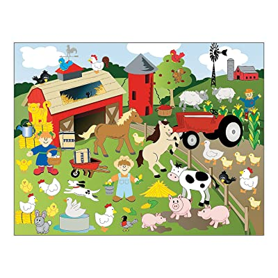 Fun Express - Farm Make A Sticker Scene - Stationery - Stickers - Make - A - Scene (Lrg) - 12 Pieces: Toys & Games