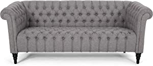 Christopher Knight Home Edgar Traditional Chesterfield Sofa with Tufted Cushions, Gray and Black