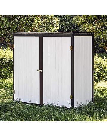 Caseta de jardín Blanco Doble puerta Caseta para herramientas y aperos Cobertizo Armario de jardín