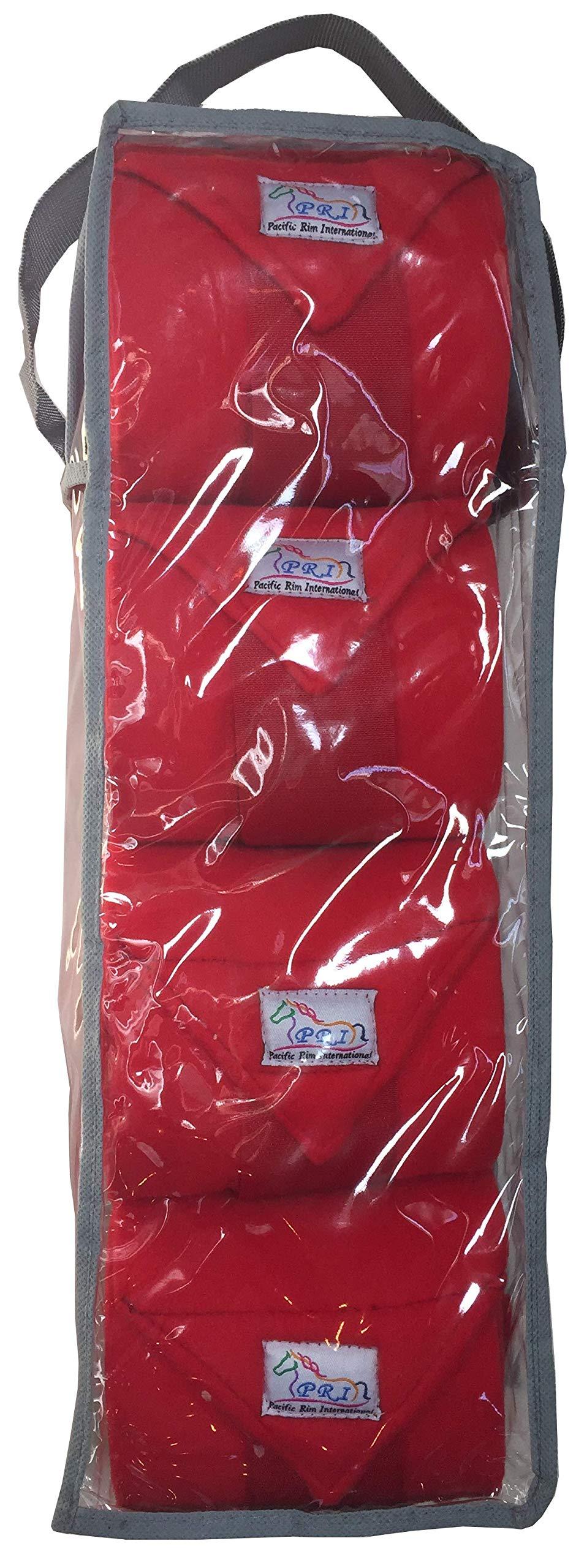 Set of Four Fleece Polo Wraps, Red, Horse Size by PRI Horse Leg Protection