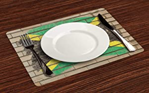 rfy9u7 Jamaican Place Mats Set of 6, Flag on The Wall Illustration with Chalk Effect Old Bricks Grunge Design Caribbean, Washable Fabric Placemats for Dining Room Kitchen Table Decor