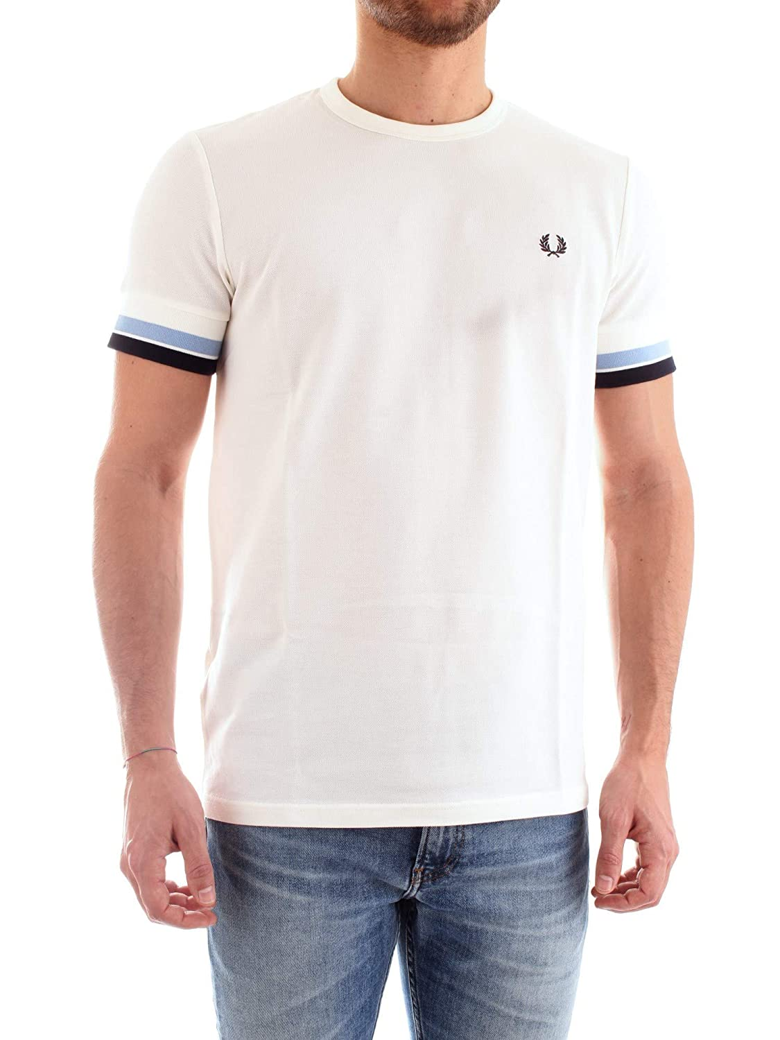 Fred Perry Hombres Camiseta con Punta audaz m6513 129 M Blanco ...