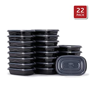 Rubbermaid 2108383 TakeAlongs Food Storage Containers, Set of 22 (44 Pieces Total) | for Meal Prep, Lunch for Adults & Kids | Reusable & Stackable, 4-Cup, 22-Pack, Black