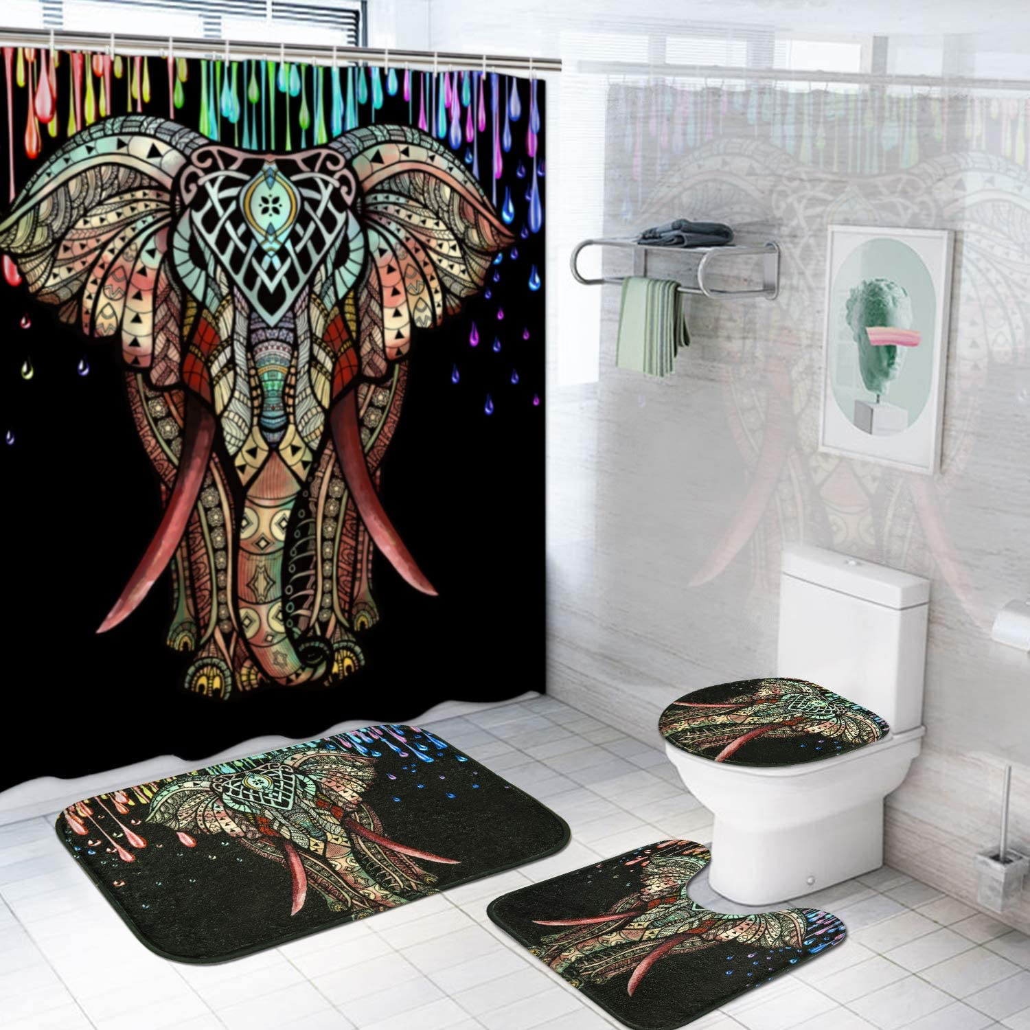 TAMOC 4 Pcs Colorful Elephant Shower Curtain Set with Non-Slip Rug, Toilet Lid Cover and Bath Mat, Mandala Indian Elephant Shower Curtain with 12 Hooks, Waterproof African Shower Curtain, Black