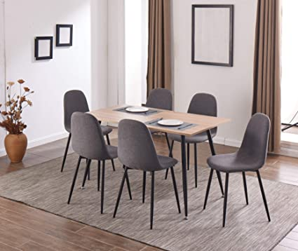 Amazon.com - IDS Home Dining Table Set for 6 Crafted Wood ...