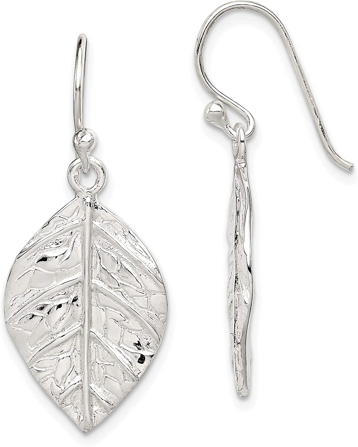 Sterling Silver Leaf Textured Dangle Earrings and a pair of 4mm CZ Stud Earrings