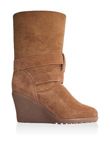 a99a75d376e Redfoot Womens Sheepskin Wedge Heel Buckle Boots