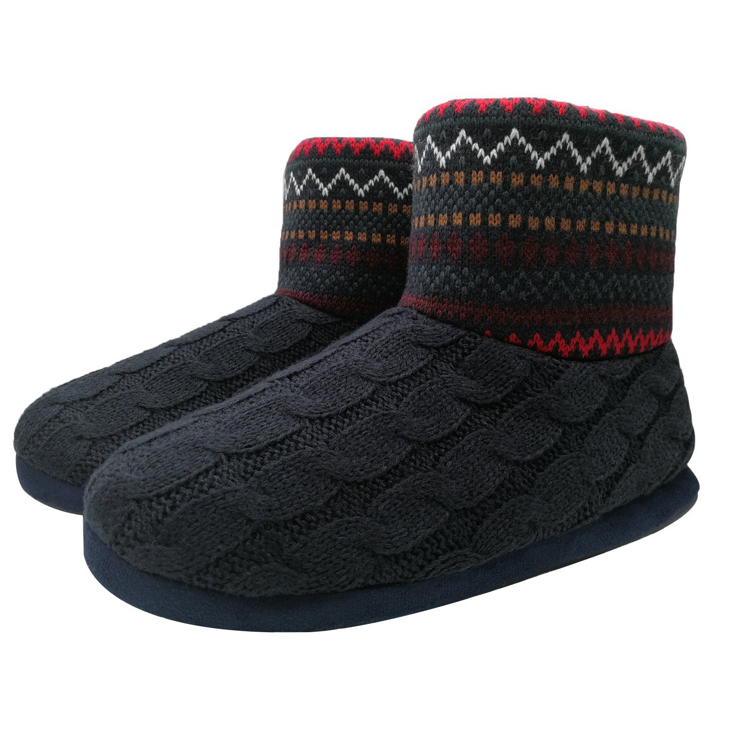 SunbowStar Men's Faux Fur Lined Knit Anti-Slip Indoor Slippers Boots House Slipper Bootie,Dark Blue-10 D(M) US