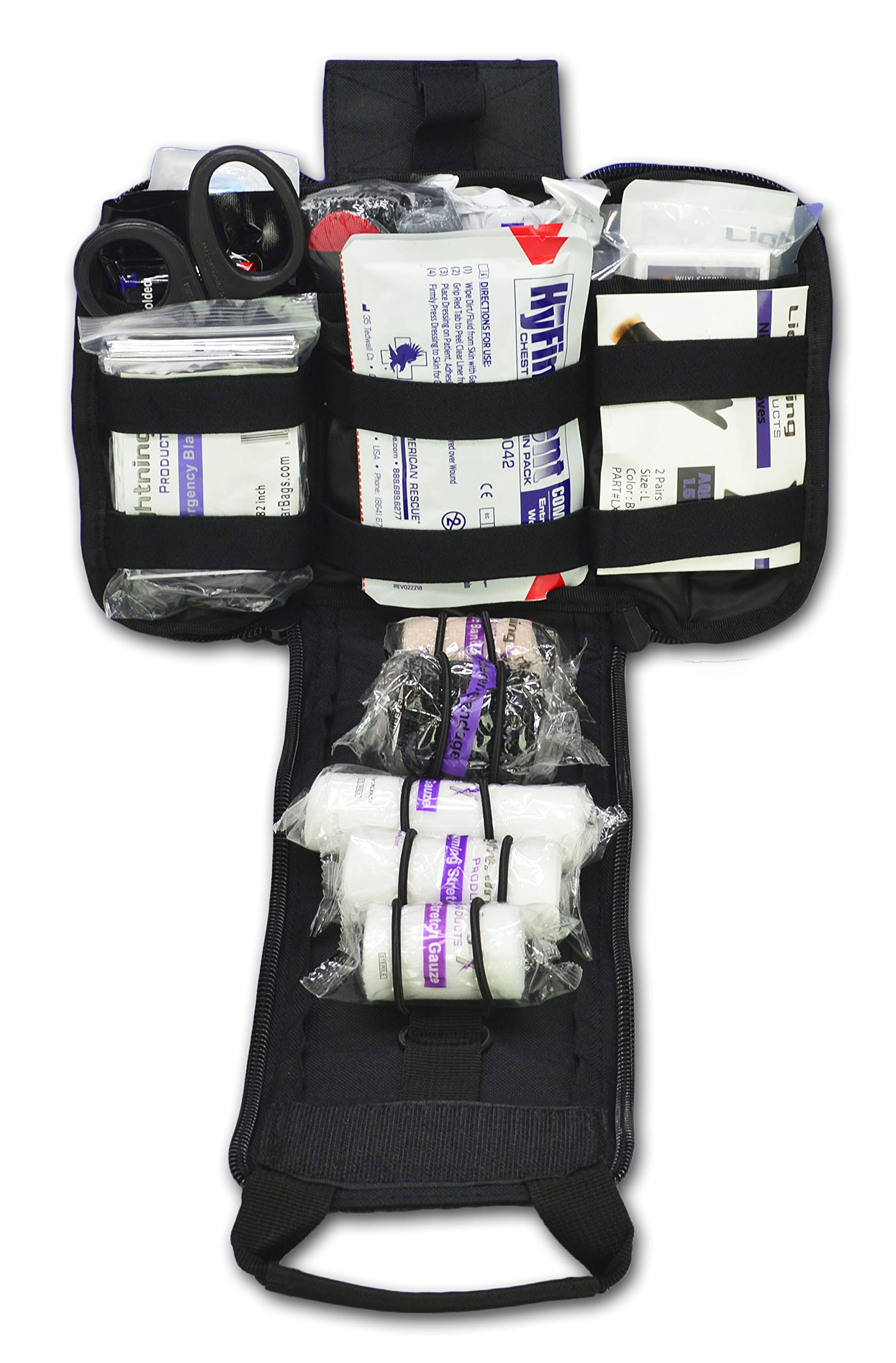 Lightning X Spread Eagle Complete Tactical Gunshot & Trauma IFAK Kit w/Laser Cut MOLLE - Black by Lightning X Products