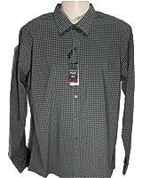 Men's Van Heusen Flex Slim Fit Gingham Dress Shirt, Black, Size 16 - 16 1/2