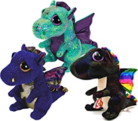 TY Beanie Boos Dragons- Saffire (Blue Dragon) Cinder (Green Dragon) &