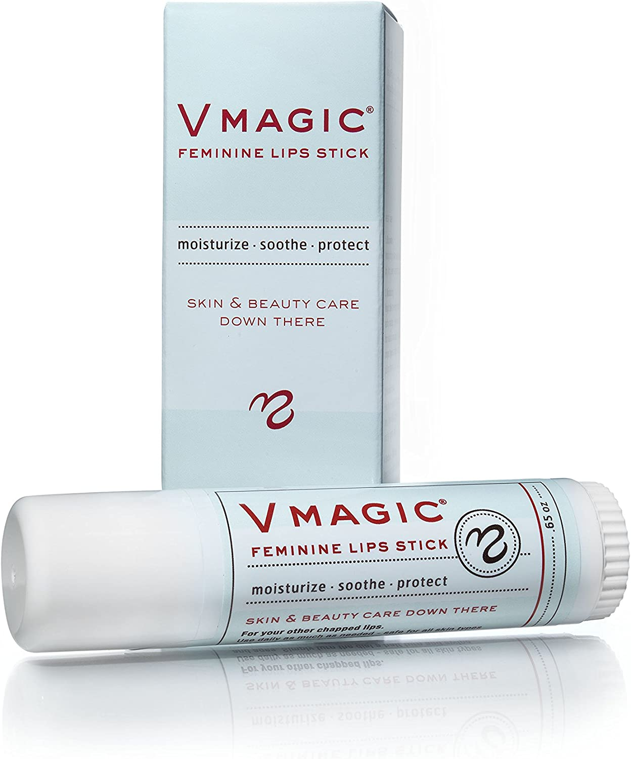Vmagic Organic Vulva Balm & Intimate Skin Care, Vaginal Moisturizer & Personal Lubricant - Relieves Dryness, Itching, Burning, Redness, Chafing, Odor, Menopause Symptoms - Feminine Lips Stick (.65oz): Health & Personal Care