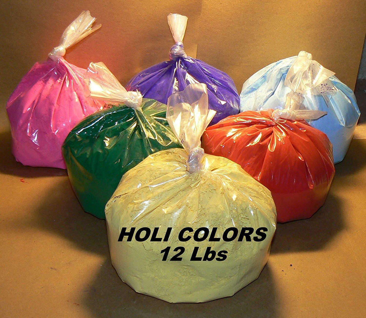 HOLI Colors 12 Lbs 6 colors (2lbs ea color) RED, YELLOW, PINK, BLUE, GREEN, AND PURPLE - SHIPS FROM LOS ANGELES 3 TO 6 DAYS DELIVERY by All India Store