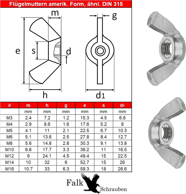 5X M10 Flügelmuttern ähnlich DIN 315 AM Form Edelstahl A2 Muttern