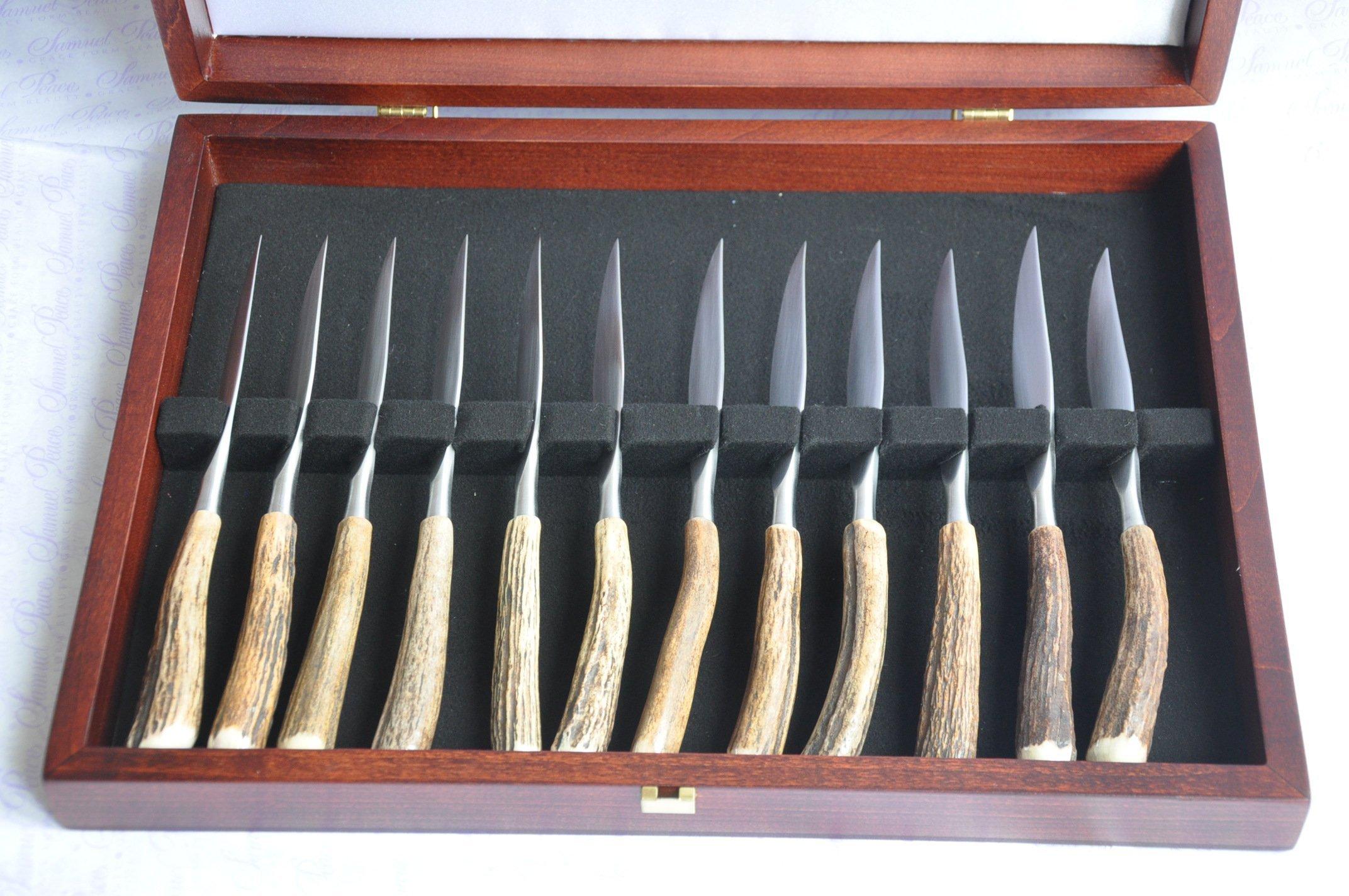 Twelve / 12 / 1 Dozen Genuine Stag/Antler Handle Steak Knives Cased Made In Sheffield England