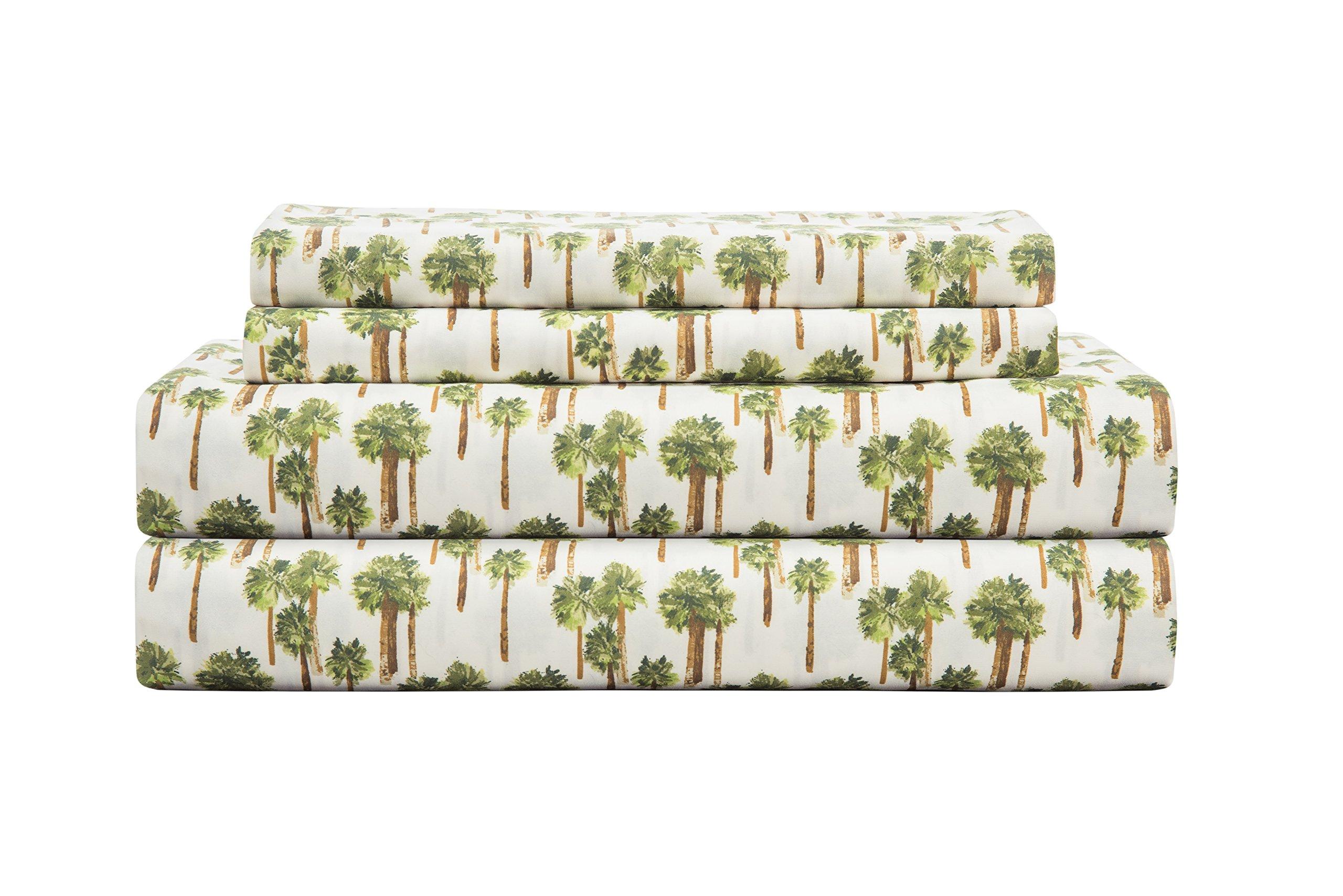 Elite Home Products 90 Gsm Microfiber Coastal Beach-Themed Printed Sheet Set, California King, Palm Tree Ivory