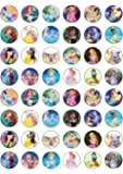 48 Mixed Princess Edible Wafer Paper Cake Toppers Decorations - Frozen