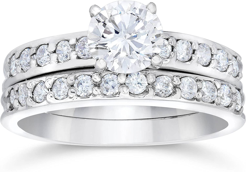Amazon Com 1 Carat Diamond Engagement Ring Matching Wedding Band Prong Set 14k White Gold Jewelry